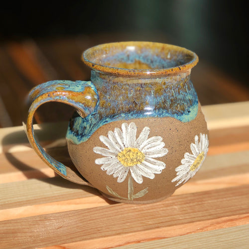 White Daisies (4)- Kiln Fired by Kelly Handmade Mug