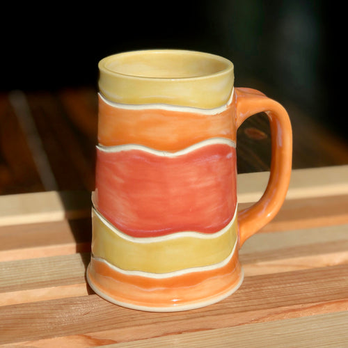 The Iced Coffee Lovers Mug (orange, pink & yellow)- Kiln Fired by Kelly Handmade Mug
