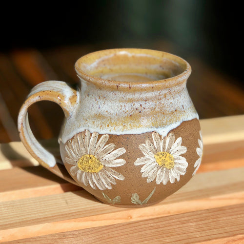 White Daisies (1)- Kiln Fired by Kelly Handmade Mug