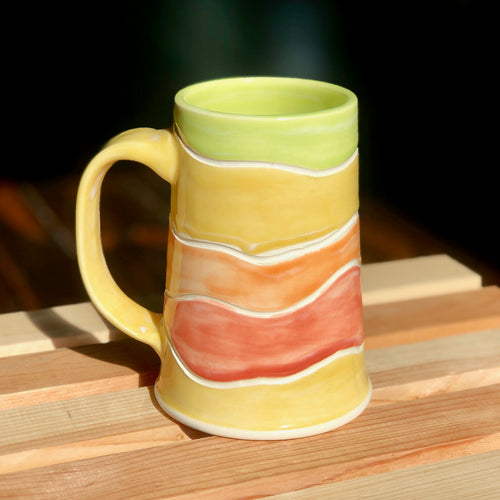 The Iced Coffee Lovers Mug (rainbow) - Kiln Fired by Kelly Handmade Mug