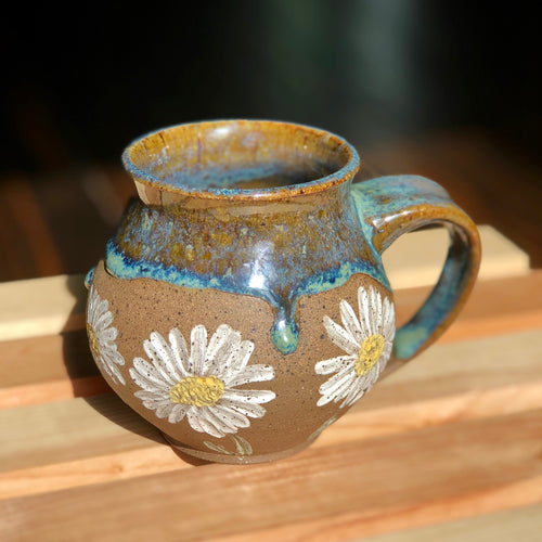 White Daisies (2)- Kiln Fired by Kelly Handmade Mug