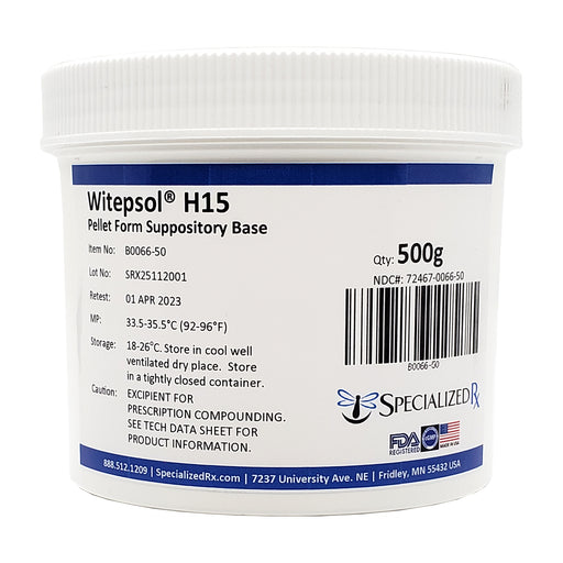 Witepsol® H15 (NF) Pellet Form Suppository Base, Specialized Rx