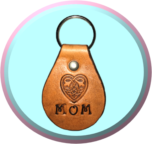 Full Heart for MOM - Handcrafted Leather Key Fob Key Ring