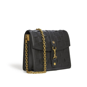Daisy Black Crossbody Weave bag with 2 straps