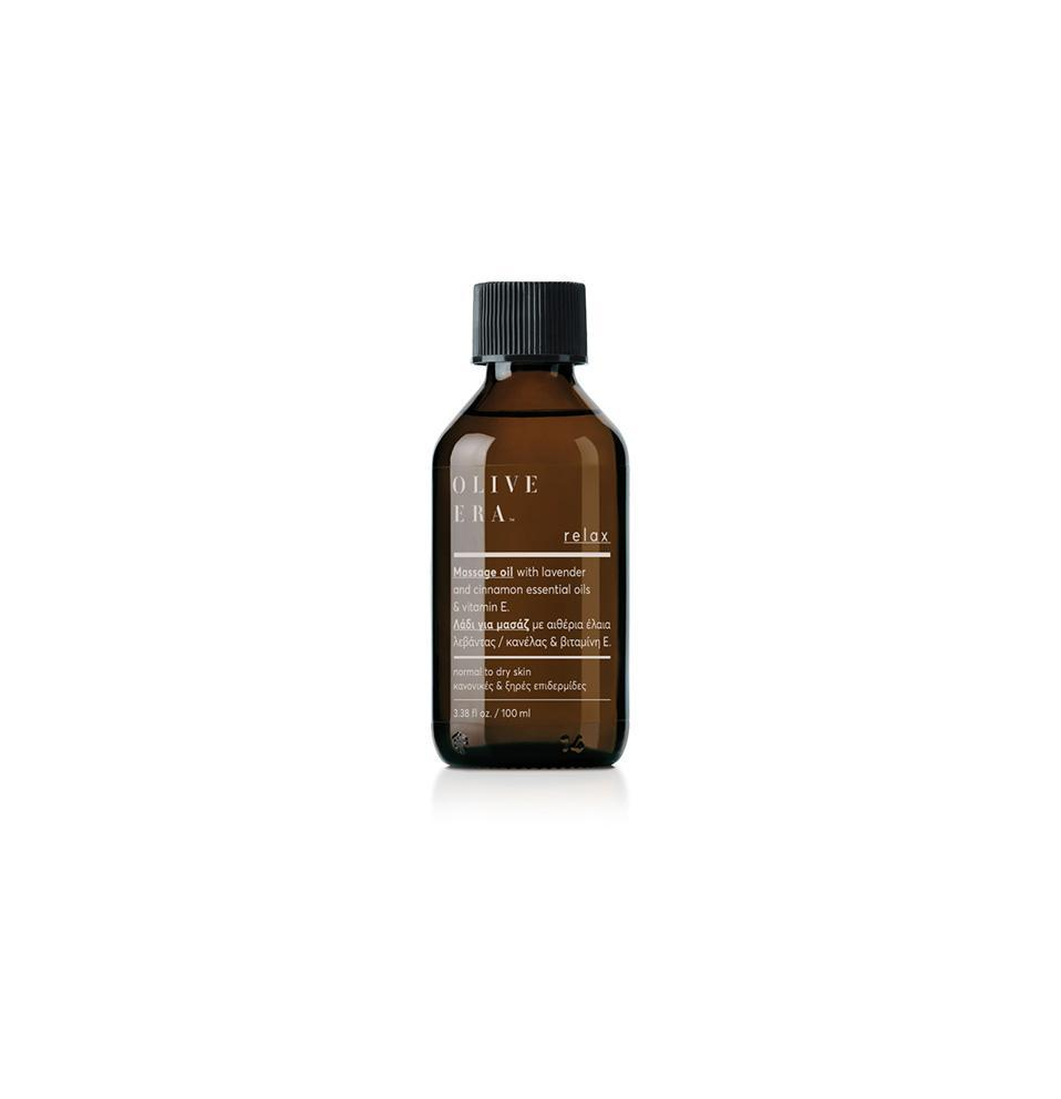 Olive Era Relax massage oil with lavender, cinnamon essential oils & vitamin E Λάδι μασάζ