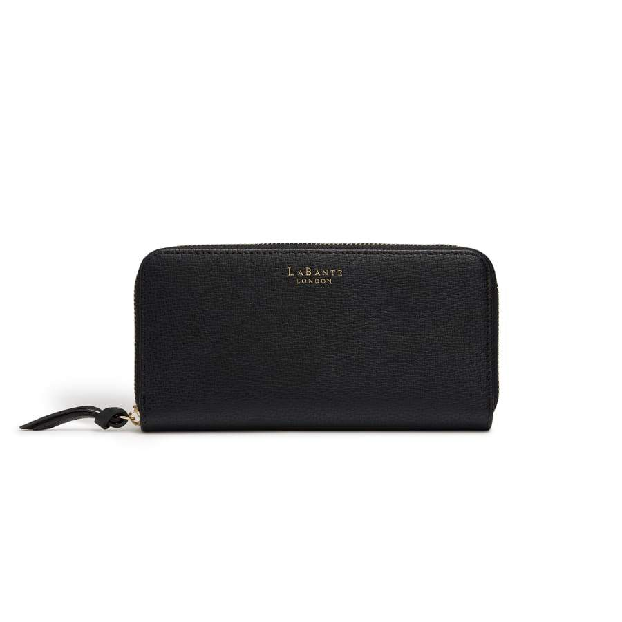 Serene Black Vegan Zip Around Wallet