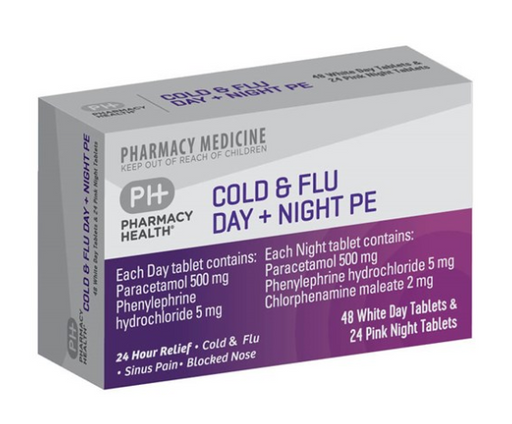 Pharmacy Health Cold & Flu Day + Night PE Tablets 72s