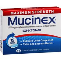 Mucinex Max Strength 1200mg 14 Tablets