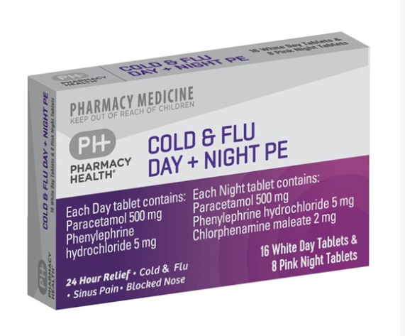 Pharmacy Health Cold & Flu Day + Night PE Tablets 24s