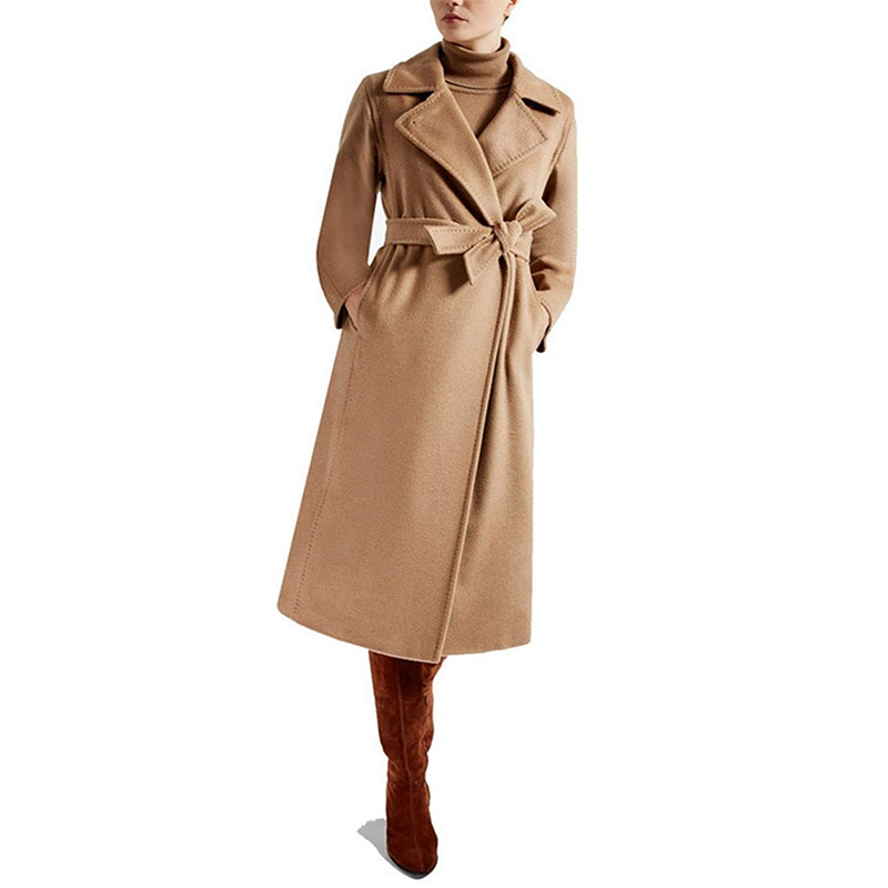 2019 New Female Pure Hand Cashmere Overcoat in Autumn and Winter
