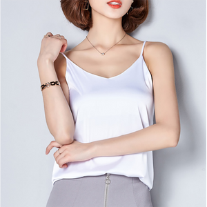 Women Camis Silk Crop Top Women Camisole 2019 Summer Style Sexy Sleeveless Vest Slim White Halter Tank Top Roupas Femininas