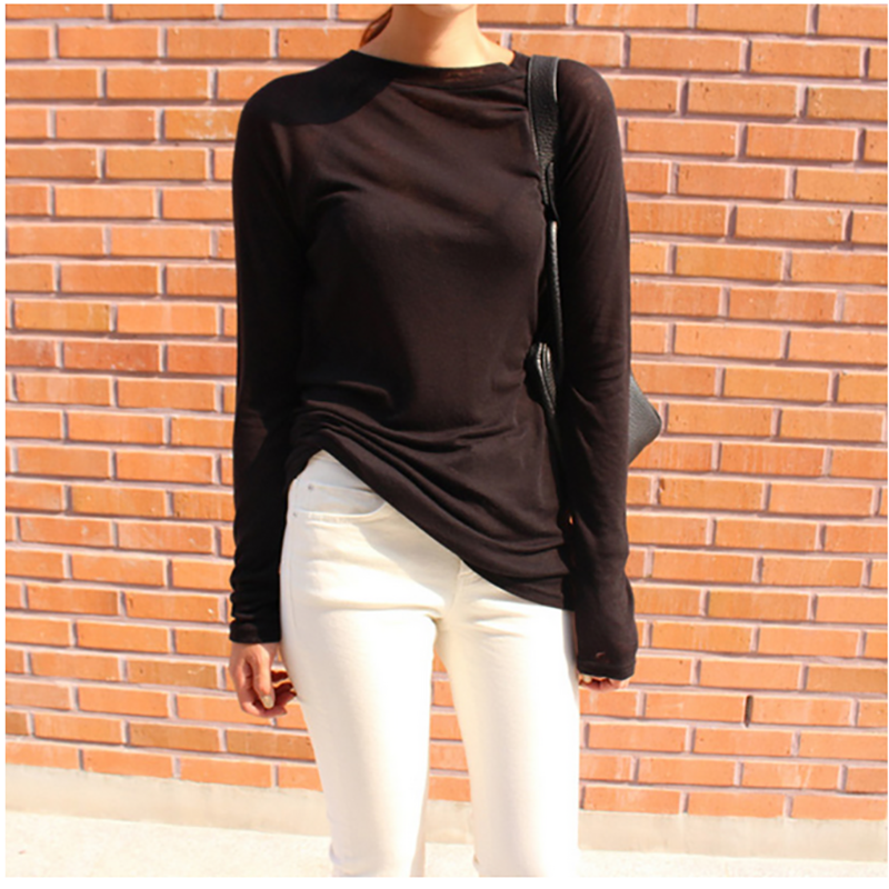 Women Long Sleeve T-shirt O-neck Slim Fit Warm 2019 Spring Summer Basic T-shirts Korean Women Tops Black White Blue Pink