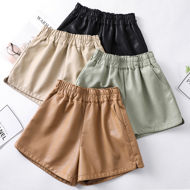 High Waist PU Leather Shorts Women Cool Punk Sashes Wide leg Autumn Winter Casual Loose Elastic Waist Leather Shorts 2019
