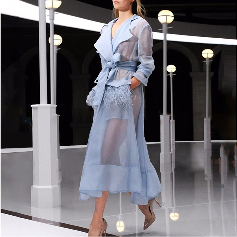 Voile Lace up Windbreaker Dress Women Long Sleeve Feather Pockets Sexy Party Dresses Female Elegant Clothes 2019