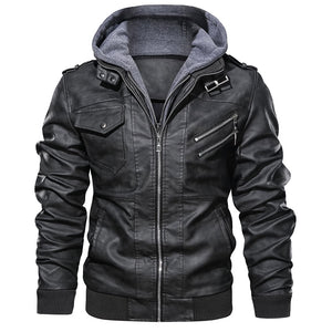 Casual Motorcycle Jacket Removable Hood