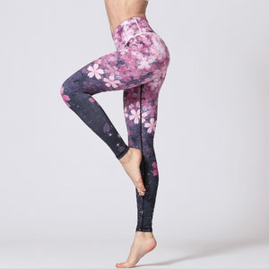 Sakura Purple Yoga Pants for Women High Waist Fitness Push up Tights Gym Flower Sports Leggings Printed Tummy Control for Running Jogging