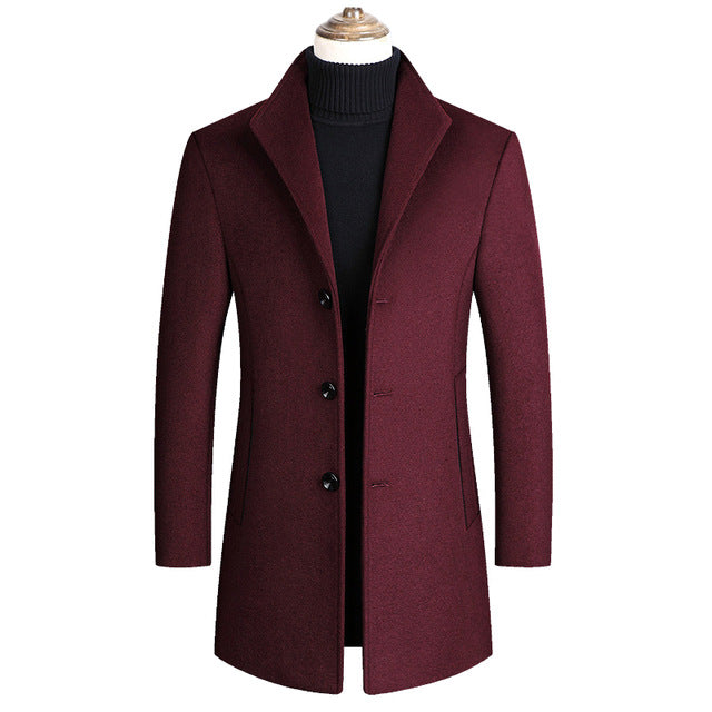 Solid Color High Quality Wool Blends Coats