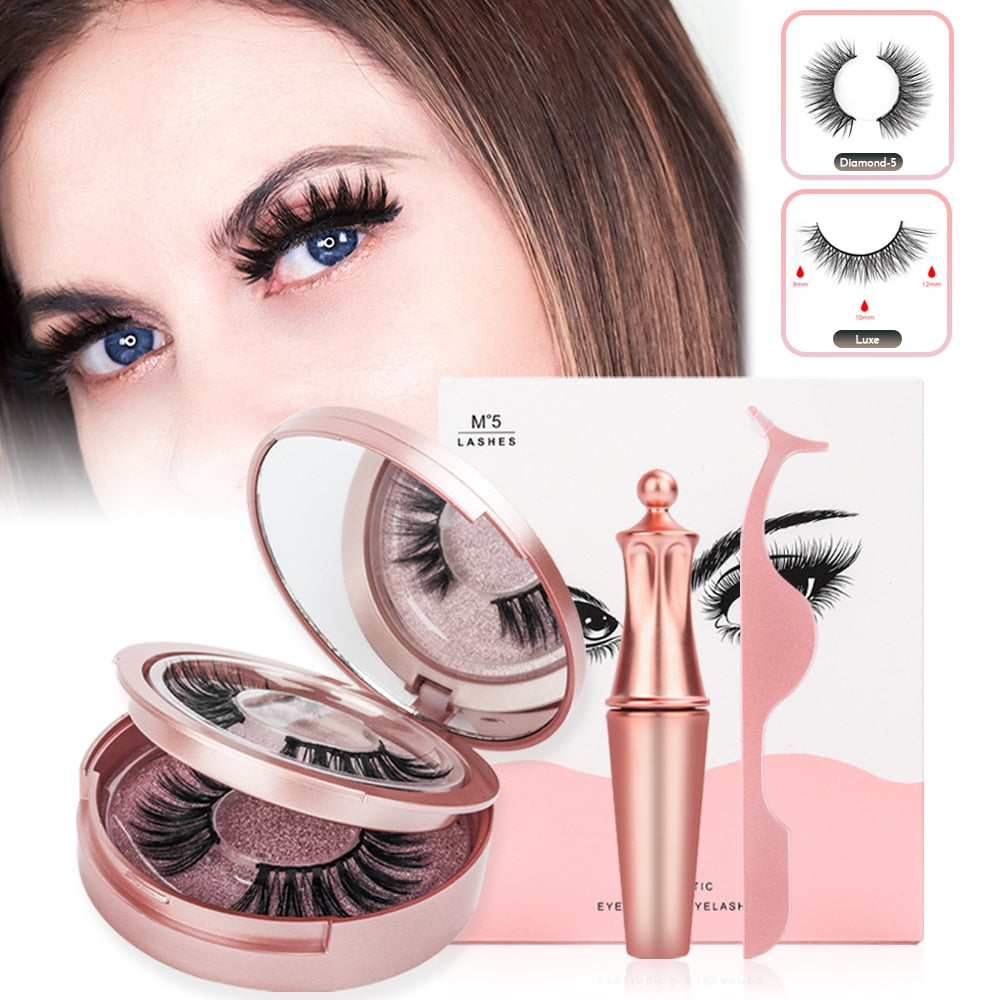 Magnets Natural Fake Eyelashes with a Magnetic Liquid Eyeliner