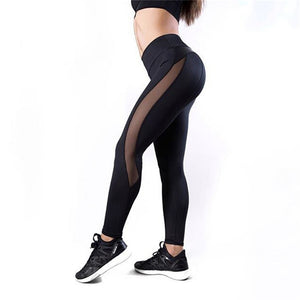Black Fitness Legging Women Heart Workout Legginngs Femmle Mesh And PU Leather Patchwork Leggings Solid Pants