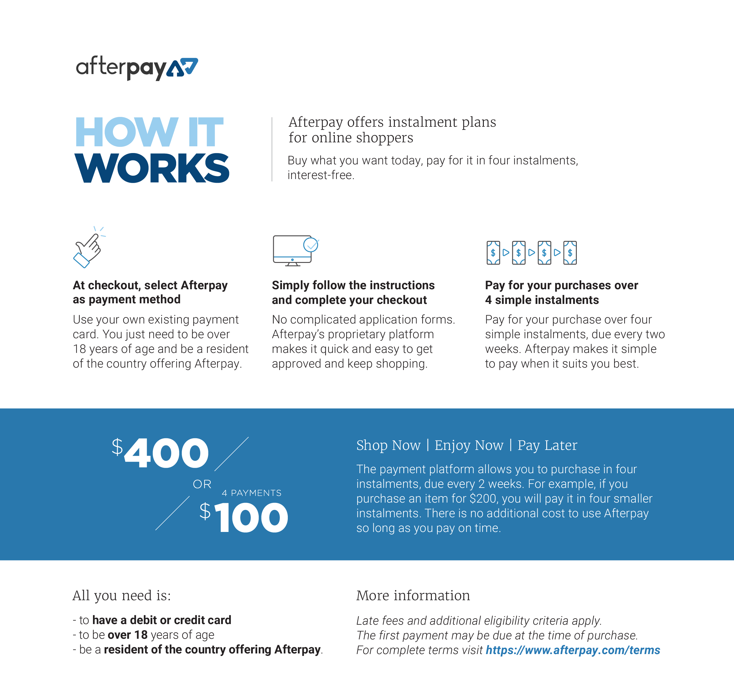 afterpay logo instalment payments
