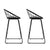 Artiss Set of 2 Nordic Bar Stools Metallic Bar Stool Kitchen Fabric Grey Black