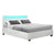 Artiss LED Bed Frame Queen Size Gas Lift Base With Storage White Leather - Decorly
