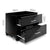 Artiss High Gloss Two Drawers Bedside Table - Black - Decorly