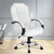 PU Leather Padded Office Desk Computer Chair - White - Decorly