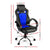 Racing Style PU Leather Office Desk Chair - Blue - Decorly