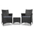 Gardeon 3 Piece Wicker Outdoor Furniture Set - Black - Decorly