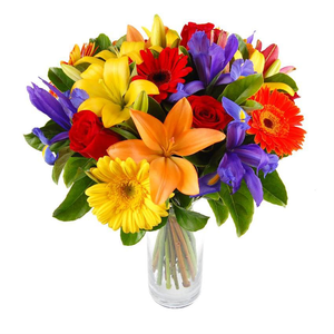 BEAUTYFULL FRESH LILIES,ROSES  AND GERBERAS ARRENGEMENT