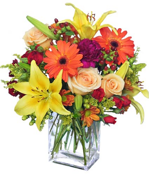 BEAUTYFULL FRESH LILIES, ROSES AND GERBERAS ARRENGEMENT