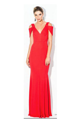 V NECK DETAIL SLEEVE GOWN by Bariano