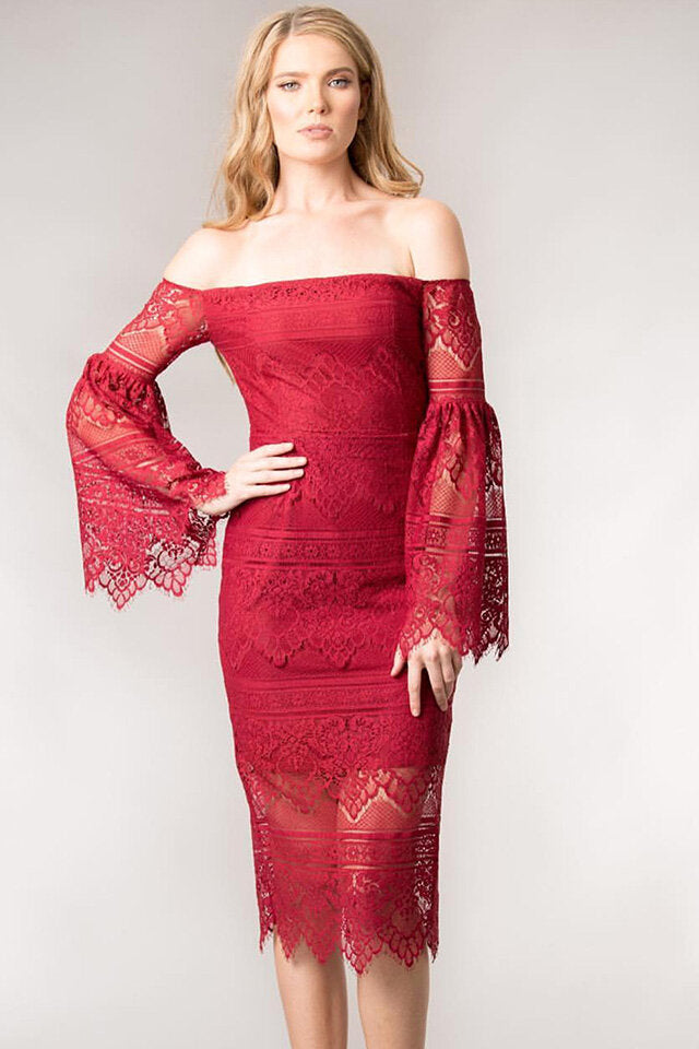 FLARED LACE DRESS by Giselle & Sophia