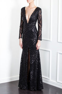 SEQUIN DECO PLUNGE GOWN by Ae'lkemi