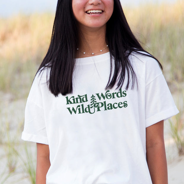 Kind Words Wild Places Oversized Tee | Happy Earth Apparel