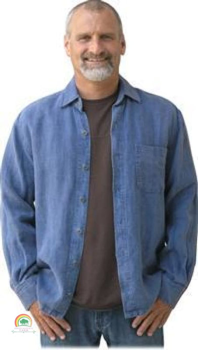 Mens Hemp Clothing | Sashmill Hemp Linen Shirt | Jacket - Denim / Small - Mens Hemp Clothing