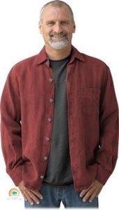 Mens Hemp Clothing | Sashmill Hemp Linen Shirt | Jacket - Sienna / Small - Mens Hemp Clothing