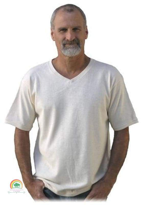 Mens Hemp Clothing | Mens V Neck Hemp Shirt | A Better Hemp Tee - Natural / Small - Mens Hemp Clothing