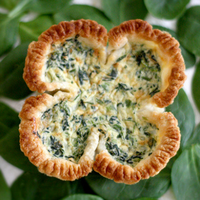 spinach quiche shaped like a lucky 4 leaf clover