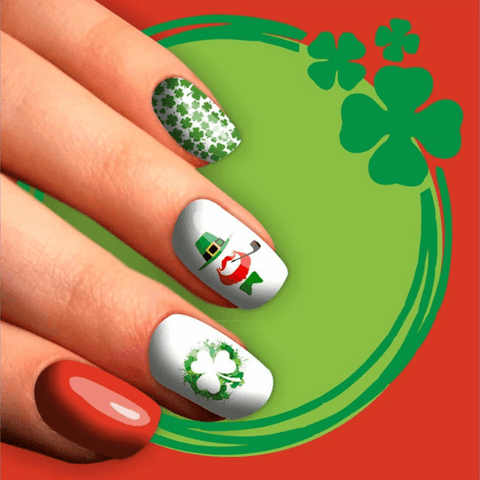 leprechauns and green clovers nail stickers