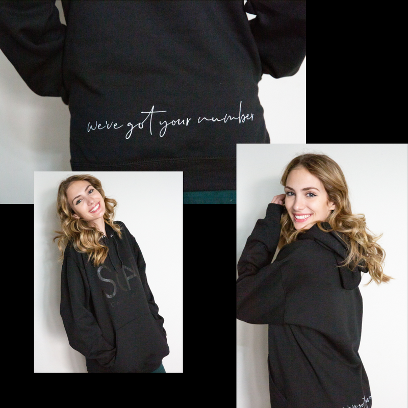scar and co hoodie front, side, and back with we've got your number