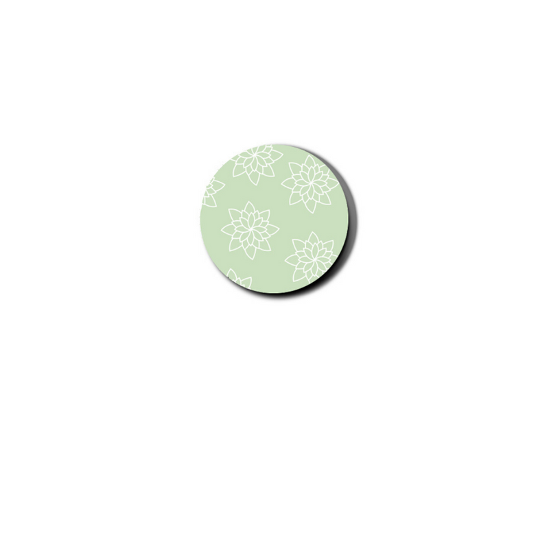 gelato links feature a subtle floral pattern, outlined in white, on mint green background