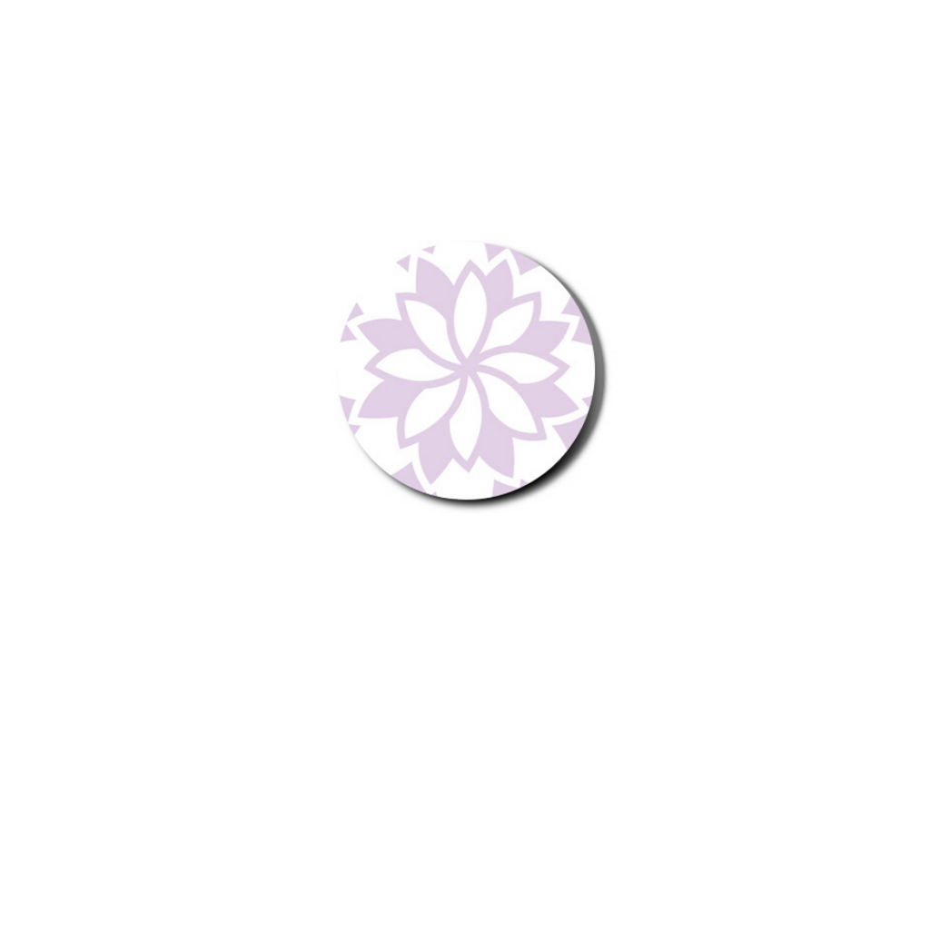 pursuit links feature a lavendar and white floral pattern on white background