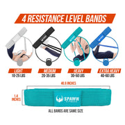 Fabric Pull Up Resistance Bands Exercise Set of 4 + Carry Bag