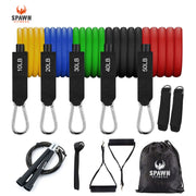 Home Gym Resistance Bands (Set of 11) + Carry Bag & Free Jump Rope