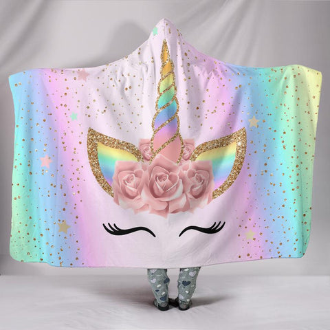 Champagne Flower Unicorn Spot Pattern 3D Printed Plush Hooded Blanket for Adults Kid Warm Wearable Fleece Throw Blankets