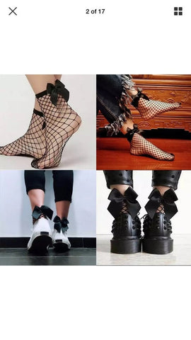 Fishnet Bow socks