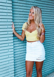 Never Too Late Sunshine Yellow Ruched Top