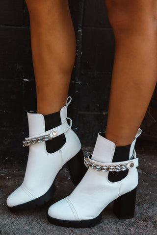 Diamond in the Sky White Booties